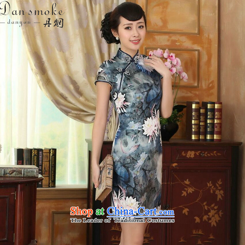 Dan smoke lotus pond and the new summer female Chinese Antique silk herbs extract double dinner short qipao Figure Color聽XL, Dan Smoke , , , shopping on the Internet