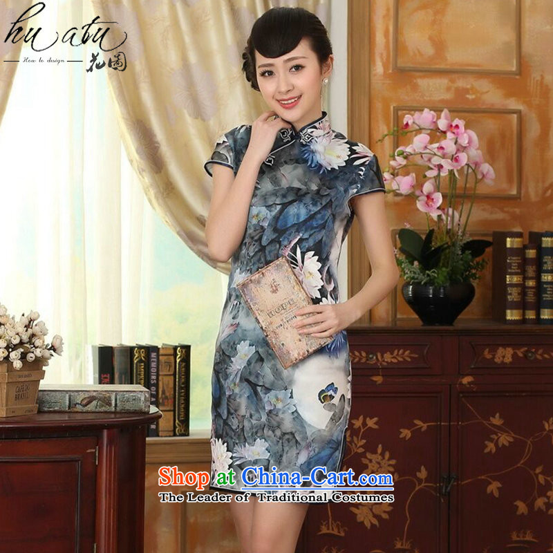 I should be grateful if you would have spent the lotus pond and the new summer female Chinese Antique silk herbs extract double dinner short qipao figure color聽M