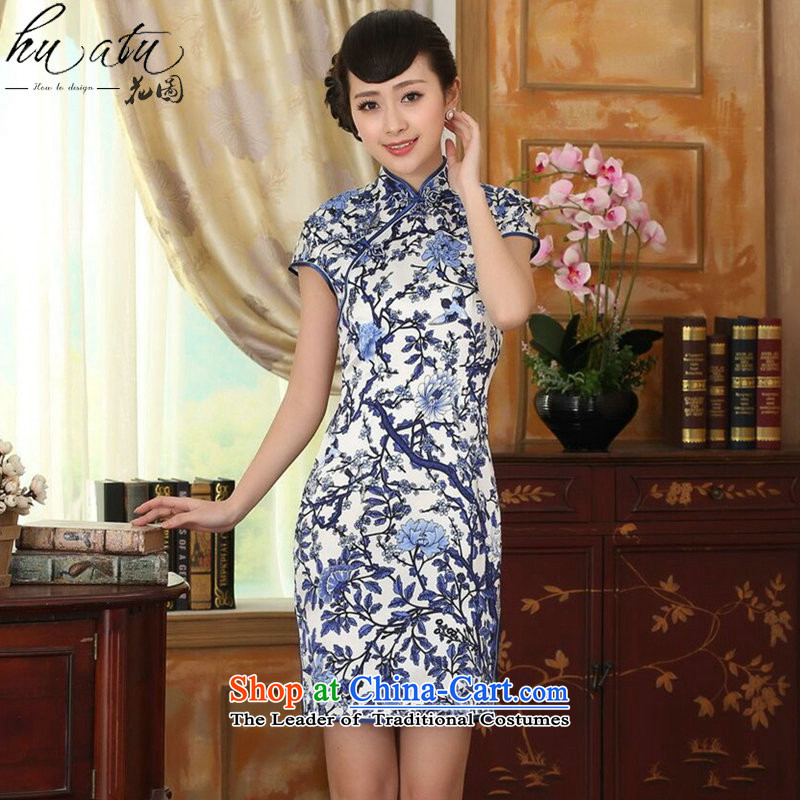 Women's Summer floral porcelain Elastic satin silk Sau San dresses Chinese silk double short of nostalgia for the improvement of Qipao Figure?2XL color