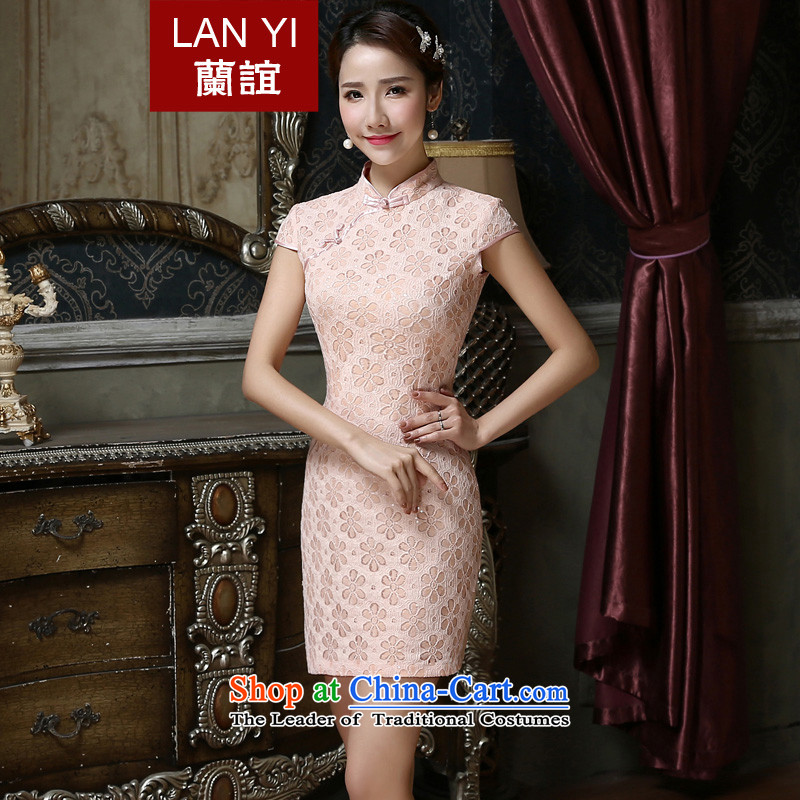 In?2015 the new friends pink dresses, on improved short film lace evening dress marriages bows service quality assurance?M code 2 feet waist