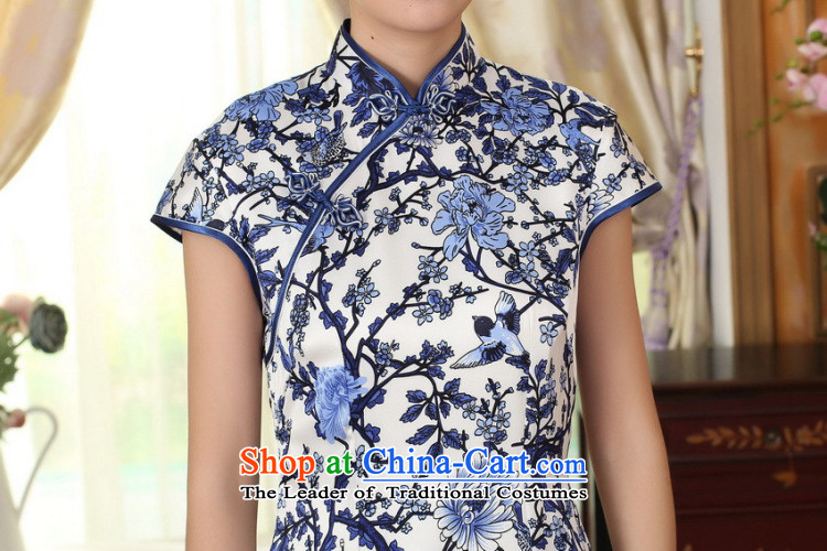 Dan Xia smoke female porcelain Elastic satin silk Sau San dresses Chinese silk double short of nostalgia for the improvement of Qipao Figure Color聽M brand, prices, picture platters! The elections are supplied in the national character of distribution, so action, buy now enjoy more preferential! As soon as possible.