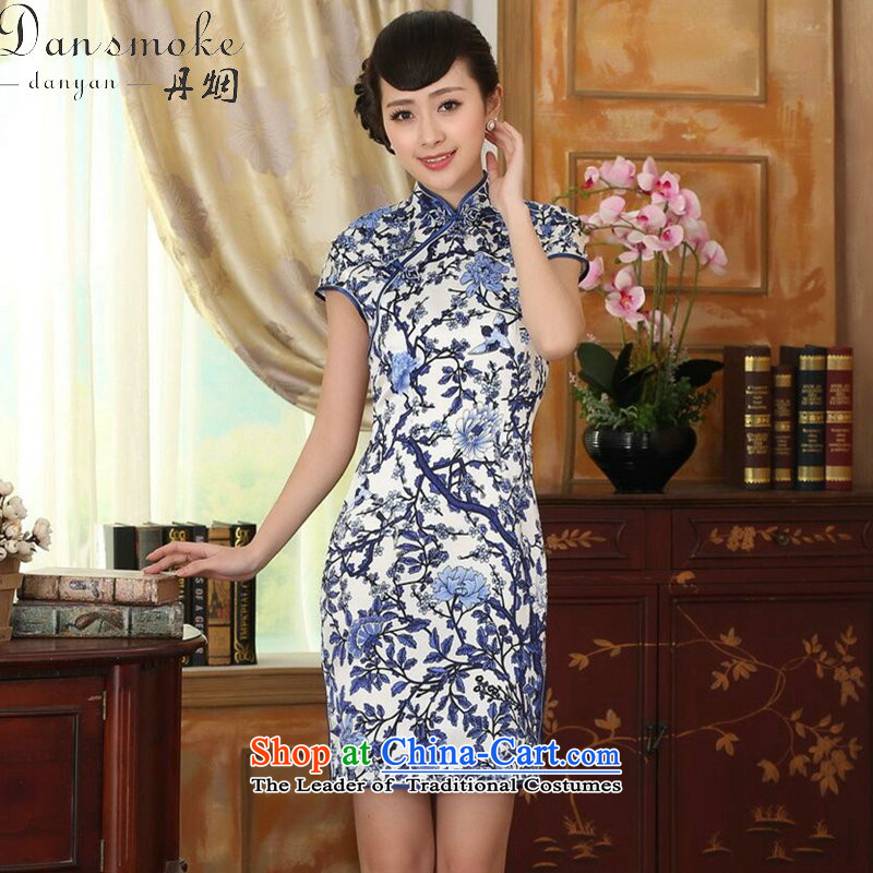 Dan Xia smoke female porcelain Elastic satin silk Sau San dresses Chinese silk double short of nostalgia for the improvement of Qipao Figure Color M