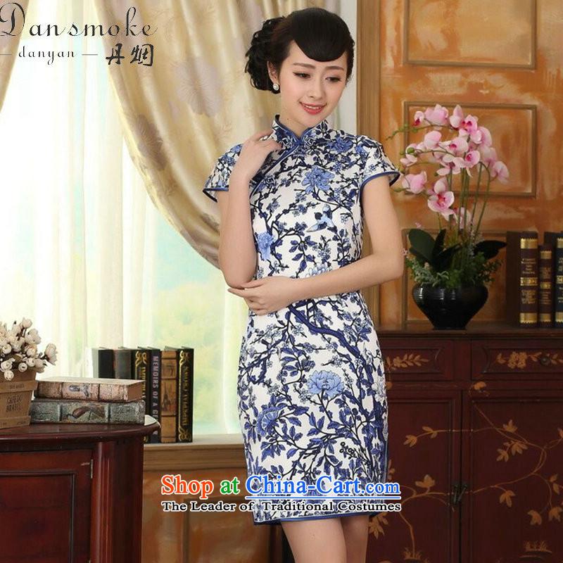 Dan Xia smoke female porcelain Elastic satin silk Sau San dresses Chinese silk double short of nostalgia for the improvement of Qipao Figure Color聽M Dan Smoke , , , shopping on the Internet