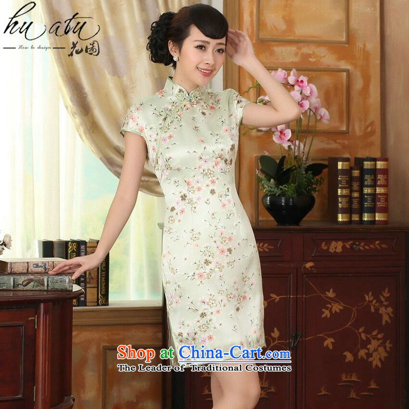 Figure for summer flowers female Chinese silk retro herbs extract poster stretch of improved saika Sau San double short qipao figure color聽L