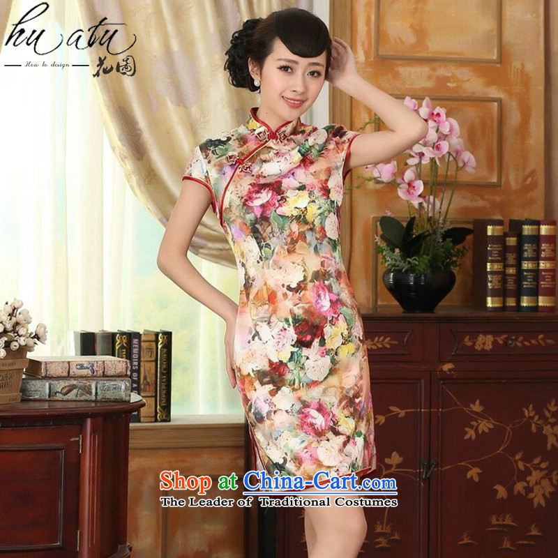 Take a new summer figure for women silk retro herbs extract poster Elastic satin collar double-decker short qipao lush beauty?L