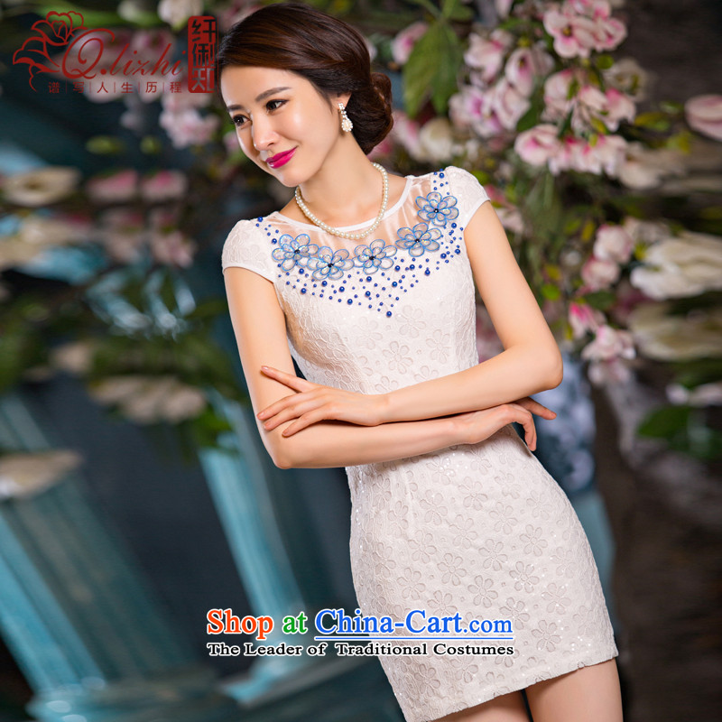 The former Yugoslavia Li know poetry Land summer new improved Stylish retro short of qipao dresses exquisite lace daily girl?smiling - QLZ15Q6068 skirt snow dance?XXL