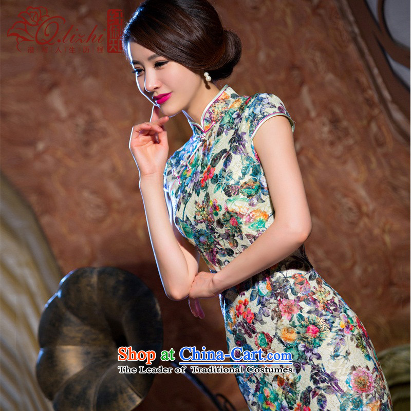 It spent in the former Yugoslavia Li chestnut cheongsam dress summer new lace qipao and sexy female qipao Sau San dresses retro?QLZ15Q6069?flower filled?M