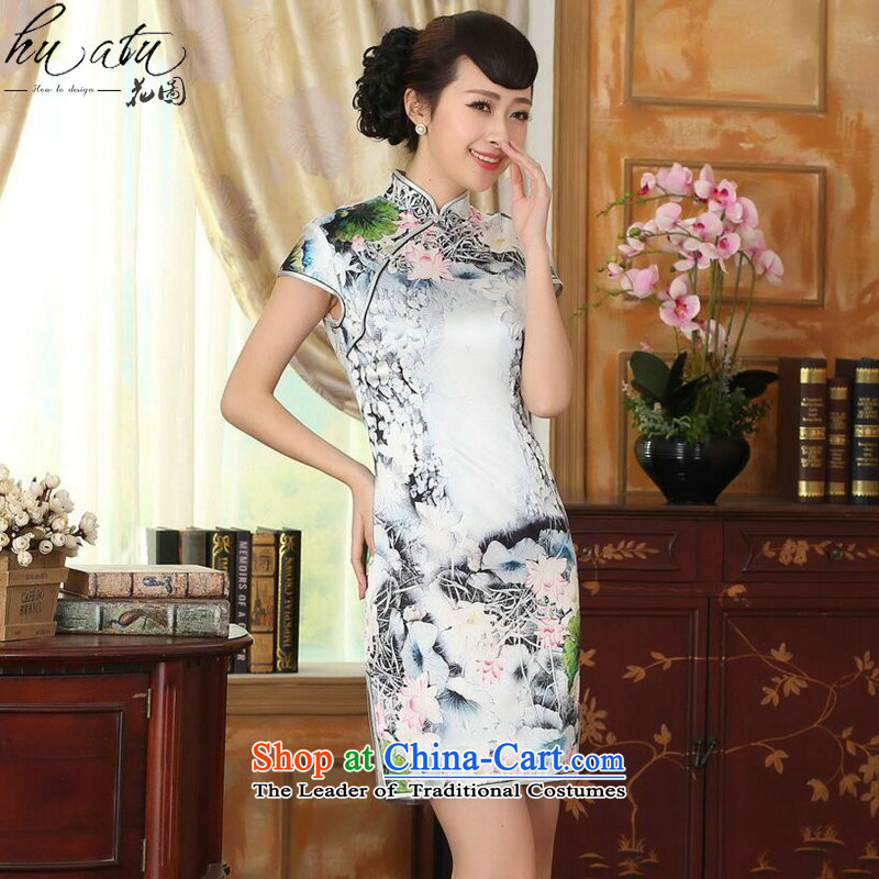 Figure for summer flowers New Silk Cheongsam dress retro Silk Satin Poster elastic Sau San double short qipao figure color?L