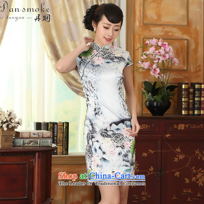 Dan smoke summer new women's Silk Cheongsam Retro classic Silk Satin Poster elastic Sau San double short qipao figure color聽M