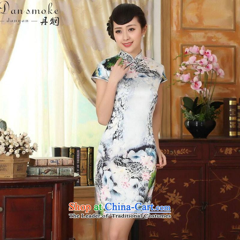 Dan smoke summer new women's Silk Cheongsam Retro classic Silk Satin Poster elastic Sau San double short qipao figure color聽M Dan Smoke , , , shopping on the Internet