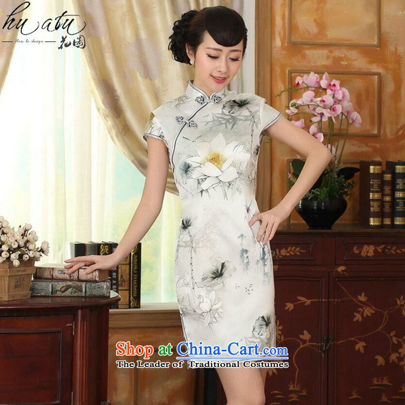 Women's Summer floral new Chinese improved lilies Sau San Silk Dresses dinner retro herbs extract short qipao figure color?M