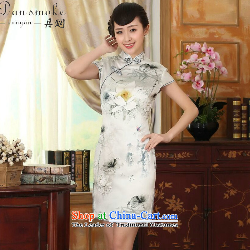 Dan Xia smoke female new improved lilies Sau San heavyweight silk dresses dinner retro herbs extract short qipao lilies XL