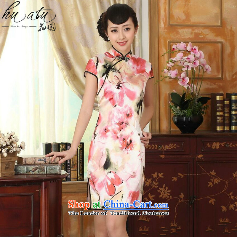 Floral heavyweight silk retro herbs extract poster stretch of improved double short skirts qipao Sau San female water toner聽2XL