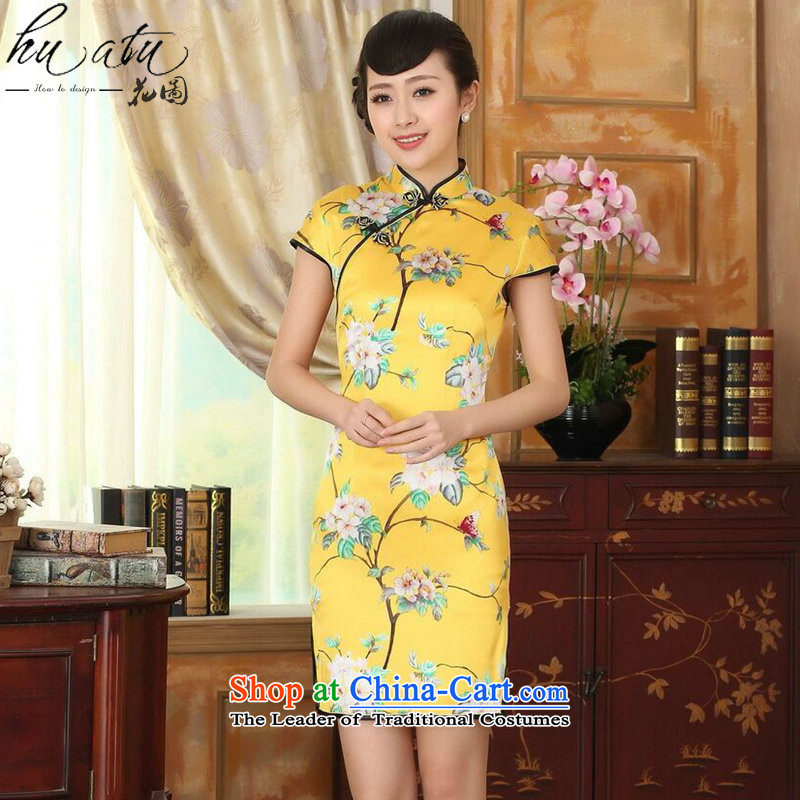 Floral summer heavyweight silk retro herbs extract poster stretch of improved double short skirts qipao Sau San Figure Color?L