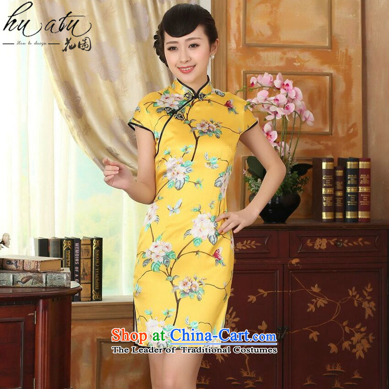 Floral summer heavyweight silk retro herbs extract poster stretch of improved double short skirts qipao Sau San Figure Color聽L, floral shopping on the Internet has been pressed.