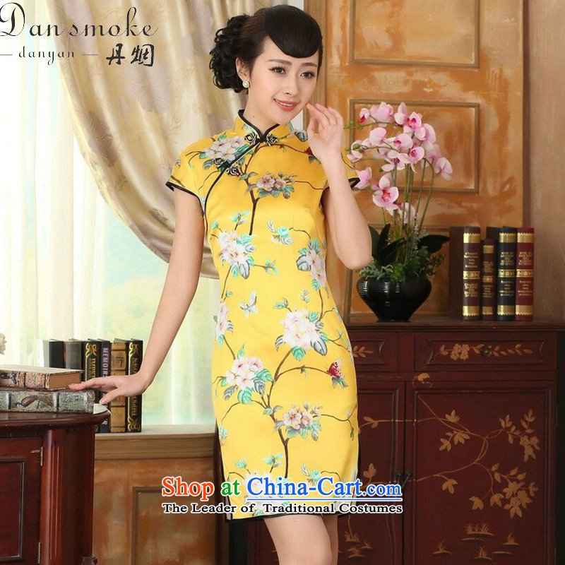 Dan smoke summer heavyweight silk Retro classic herbs extract Elastic satin poster improved Sau San double short skirt figure color qipao?2XL