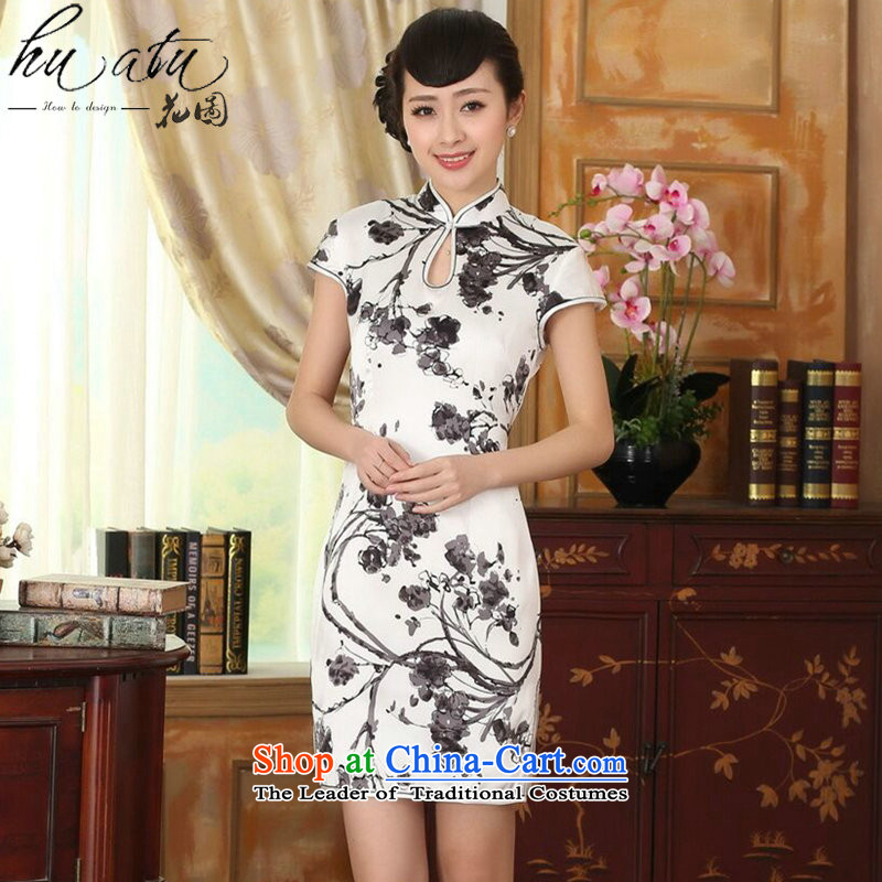 Floral summer heavyweight silk retro herbs extract improved inkjet ink Elastic satin Sau San double short qipao Figure?2XL color