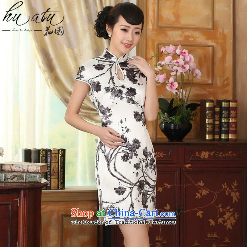 Floral summer heavyweight silk retro herbs extract improved inkjet ink Elastic satin Sau San double short qipao figure color聽mosaic.... 2XL, shopping on the Internet