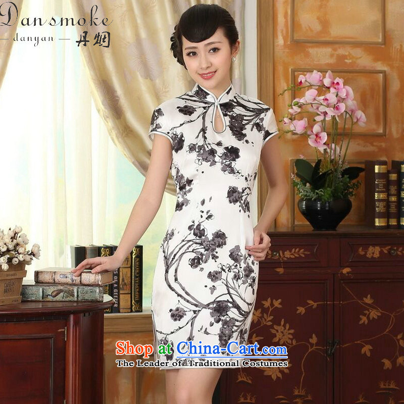 Dan Xia smoke heavyweight silk Retro classic herbs extract improved inkjet ink Elastic satin Sau San double short qipao Figure聽2XL color