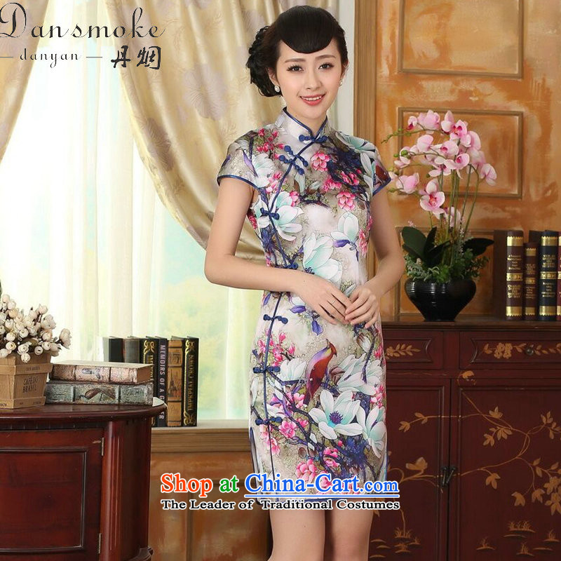 Dan smoke summer heavyweight Silk Cheongsam Elastic satin poster improved herbs extract tulip elegant banquet short qipao Figure Color?XL