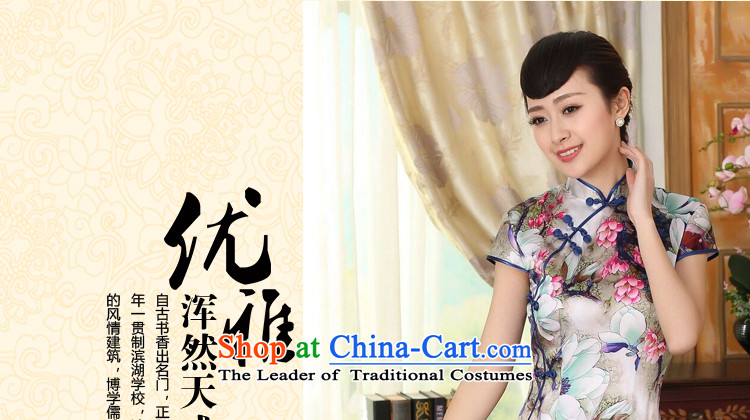 Floral summer heavyweight Silk Cheongsam Elastic satin poster improved herbs extract tulip elegant banquet short qipao Figure聽2XL color pictures, prices, brand platters! The elections are supplied in the national character of distribution, so action, buy now enjoy more preferential! As soon as possible.