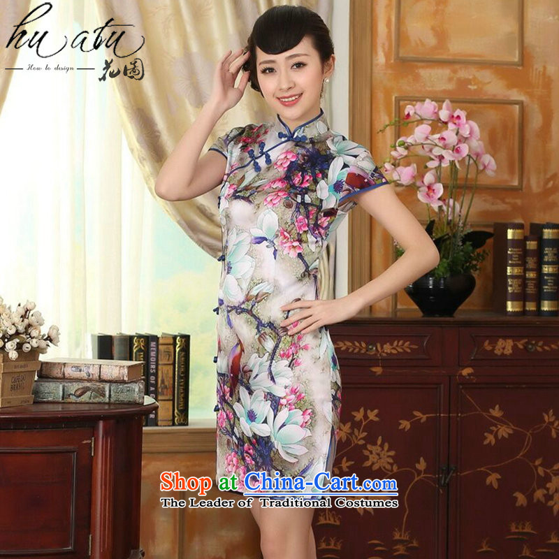 Floral summer heavyweight Silk Cheongsam Elastic satin poster improved herbs extract tulip elegant banquet short qipao Figure聽2XL color