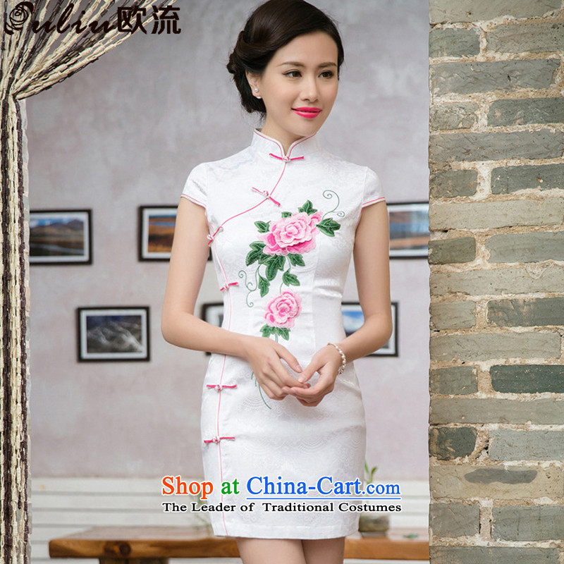 The OSCE FLOW�15 Summer stylish Ms. improved Chinese Folk Wind stereo qipao embroidered short sleeves cheongsam dress燡T5088燫ED燣