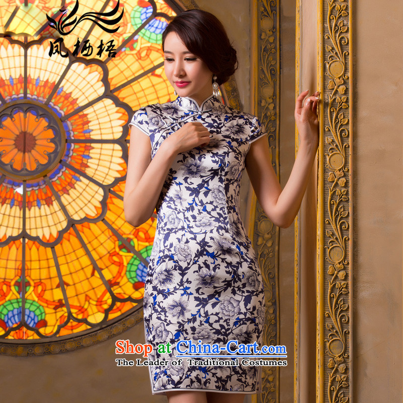 Bong-migratory Blue 7475 2015 New Silk Cheongsam upscale herbs extract retro cheongsam dress summer Sau San qipao DQ1501 Suit?M