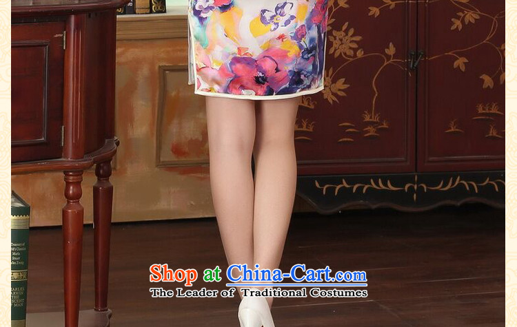 Floral heavyweight silk summer retro collar herbs extract Elastic satin poster improved double short seven colored flowers qipao聽L picture, prices, brand platters! The elections are supplied in the national character of distribution, so action, buy now enjoy more preferential! As soon as possible.