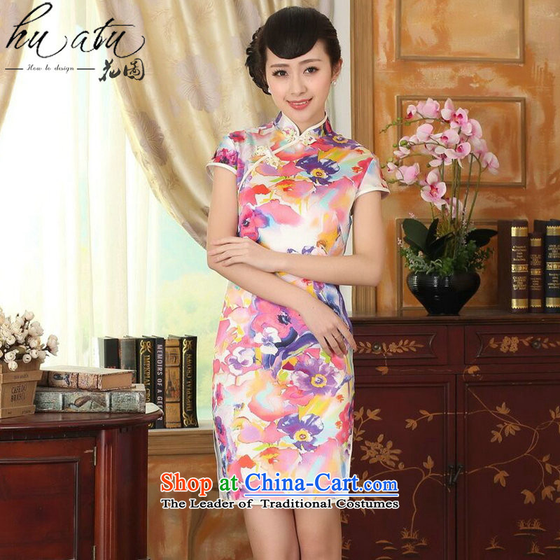 Floral heavyweight silk summer retro collar herbs extract Elastic satin poster improved double short seven colored flowers qipao?L