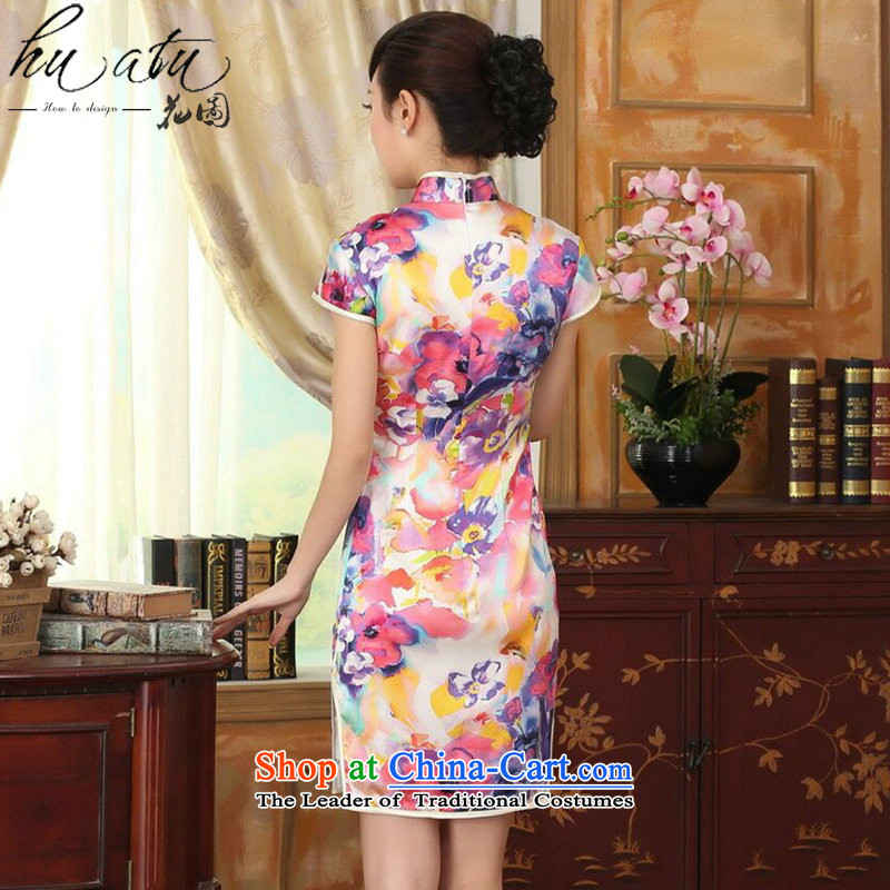 Floral heavyweight silk summer retro collar herbs extract Elastic satin poster improved double short seven colored flowers聽, L cheongsam floral shopping on the Internet has been pressed.