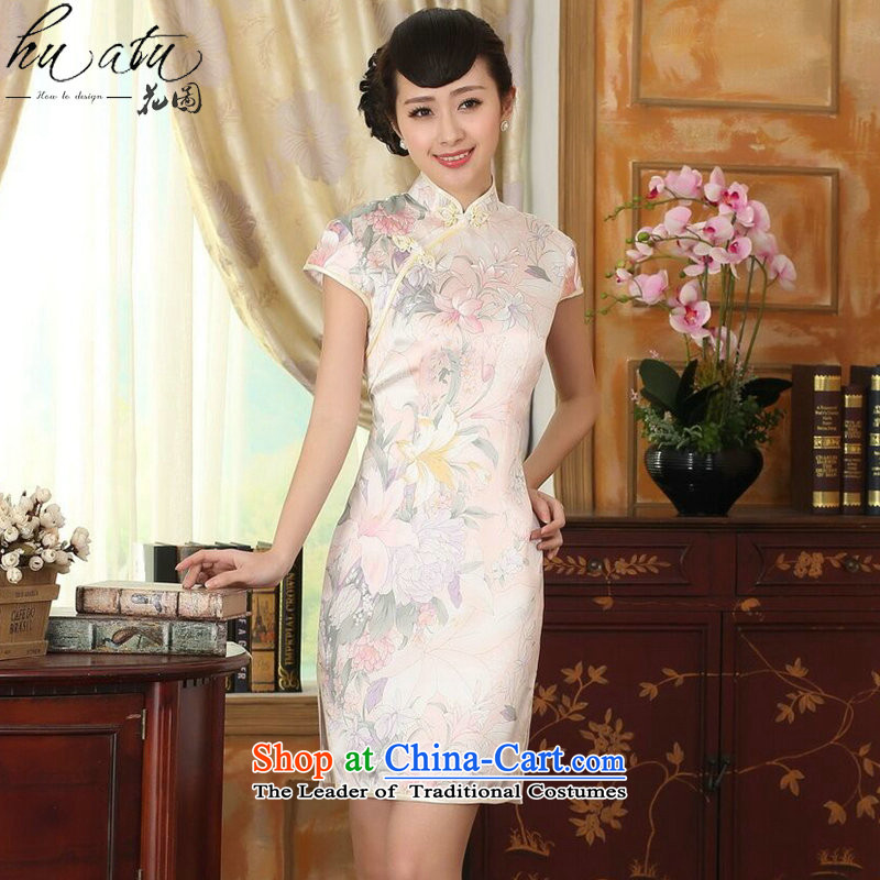 Figure for summer flowers female silk retro style herbs extract poster stretch of improved double short skirt figure color qipao?L