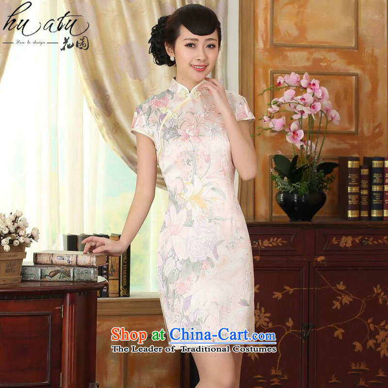 Figure for summer flowers female silk retro style herbs extract poster stretch of improved double short skirt figure color cheongsam聽, L, floral shopping on the Internet has been pressed.