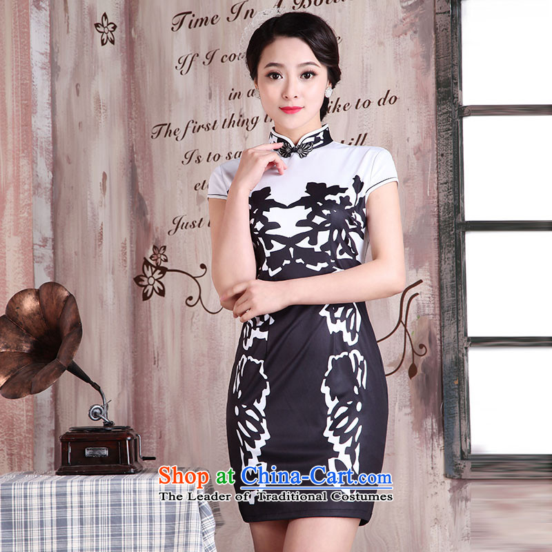 Millennium bride?new summer 2015 Chinese Antique style Sau San female dresses improved qipao X2081 skimming over - Black?XXL