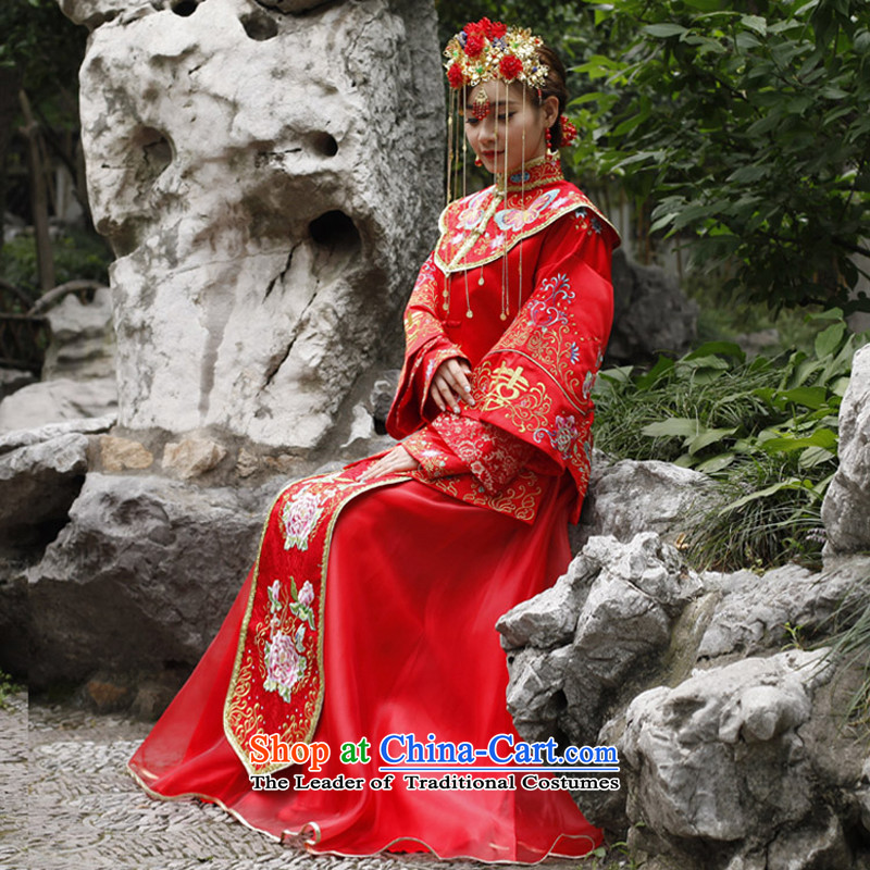 Sau Wo Saga Soo Wo Service retro Chinese Wedding dress-hi-soo Wo Service bridal dresses Tang Dynasty Show kimono gown large red bows marriage聽L