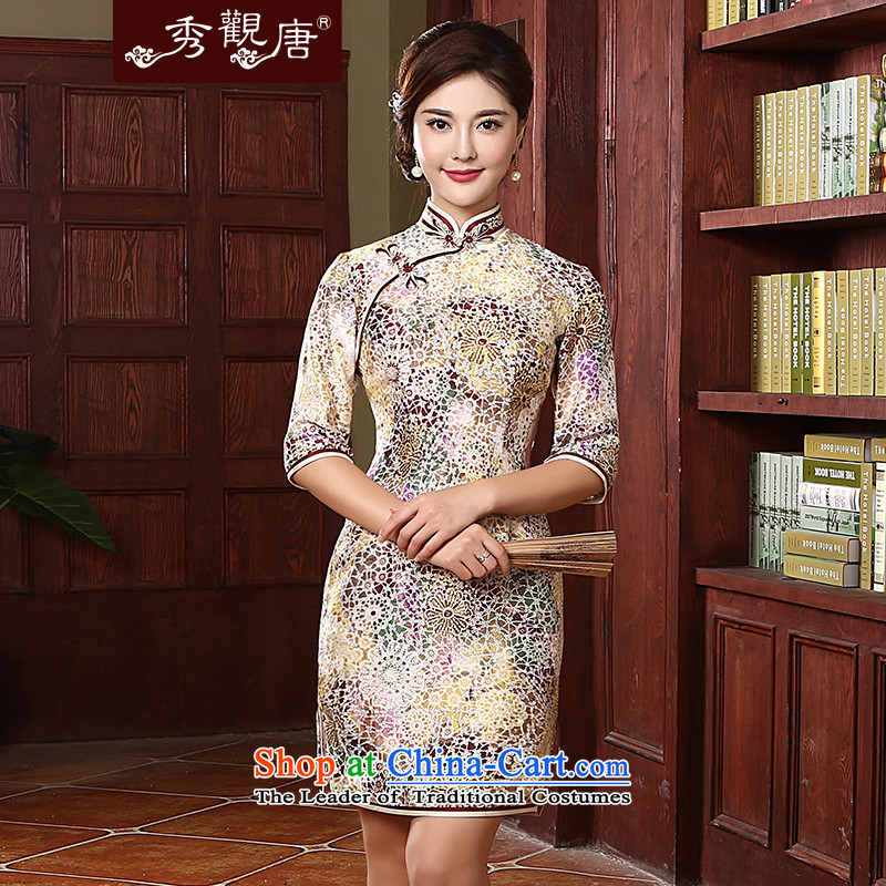 [Sau Kwun Tong] aroma stylish qipao female 2015 Spring decorated in antique herbs extract cheongsam dress suit�XXXL QZ4726