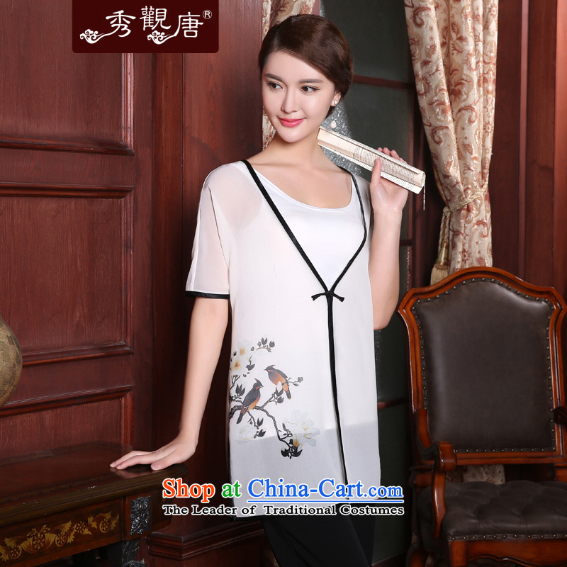 -Sau Kwun Tong- However of 2015 Summer new stamp, Tang dynasty thin coat of ethnic blouses White聽XL