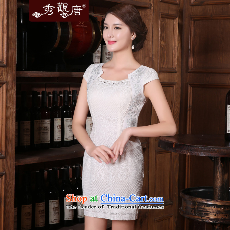 -Sau Kwun Tong- Lily improved stylish qipao skirt for summer 2015 new daily retro dresses White聽XL