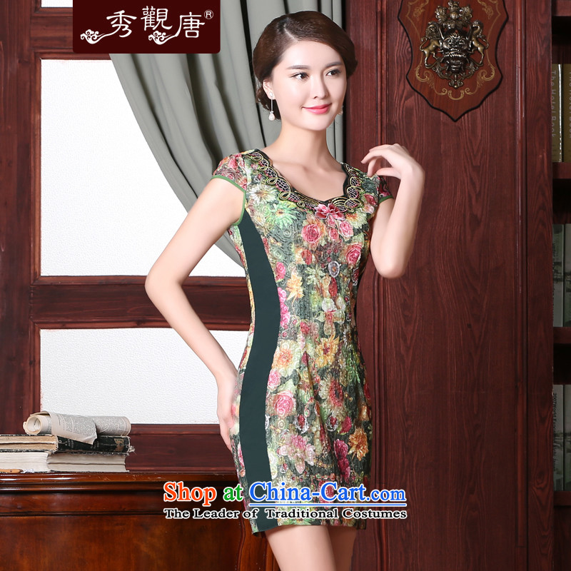 -Sau Kwun Tong- green in summer 2015 new daily cheongsam dress improved retro Sau San Dress Suit聽L