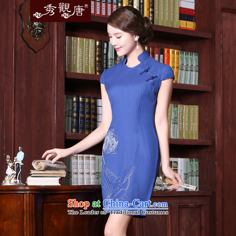 [Sau Kwun Tong]'s Summer 2015 new cotton linen cheongsam dress pure color embroidery antique dresses blue?S