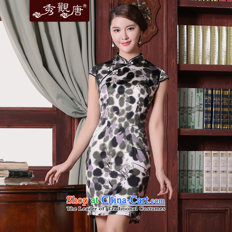 -Sau Kwun Tong- drunken Jiang on 2015 Summer new upscale retro improvements qipao sauna silk cheongsam dress suits silk?XL