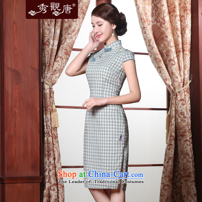 -Sau Kwun Tong- Heung-wing Summer 2015 new republic of korea qipao improved Stylish retro latticed qipao light green聽S