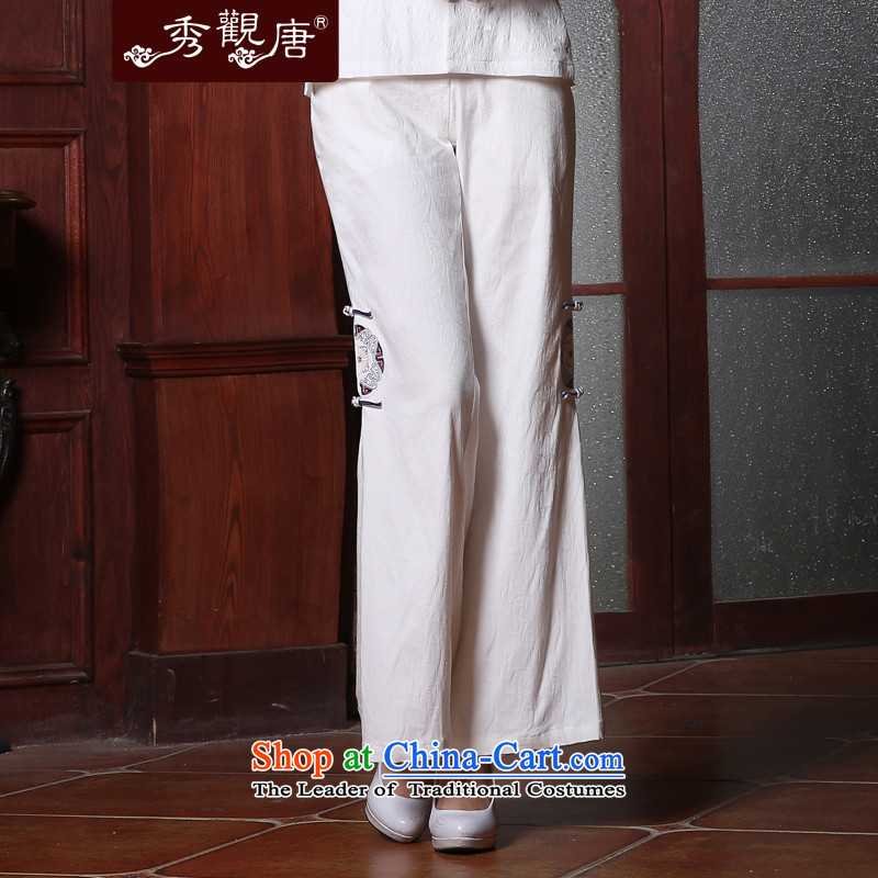 -Sau Kwun Tong- on 2015 Summer of Ms. Tang pants loose ethnic women, rug White聽XXL