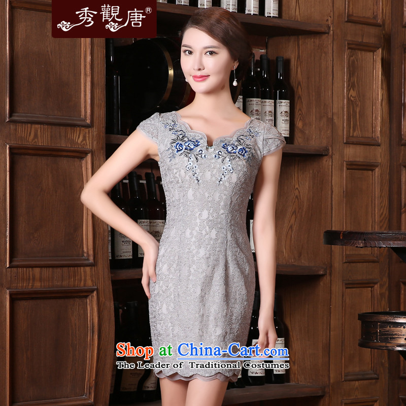 [Sau Kwun Tong] Priority Club Summer wind 2015 new lace petals for improved qipao antique dresses gray?M