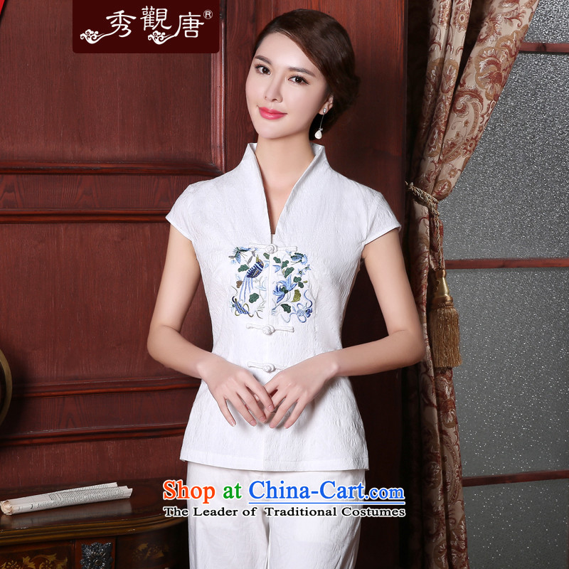 -Sau Kwun Tong- So Ying Summer 2015 Ms. New Tang Dynasty Chinese improved embroidery Tang dynasty blouses White聽XL