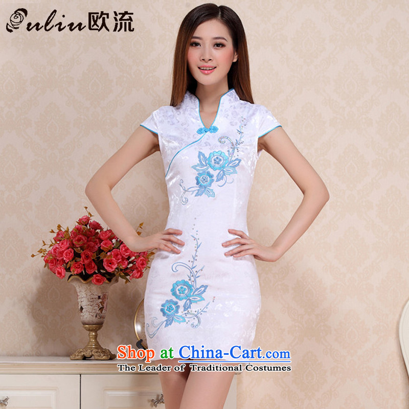 The OSCE stream summer retro short qipao ladies Sau San temperament arts performances to adolescent girls cheongsam dress�AQE0711�BLUE�S