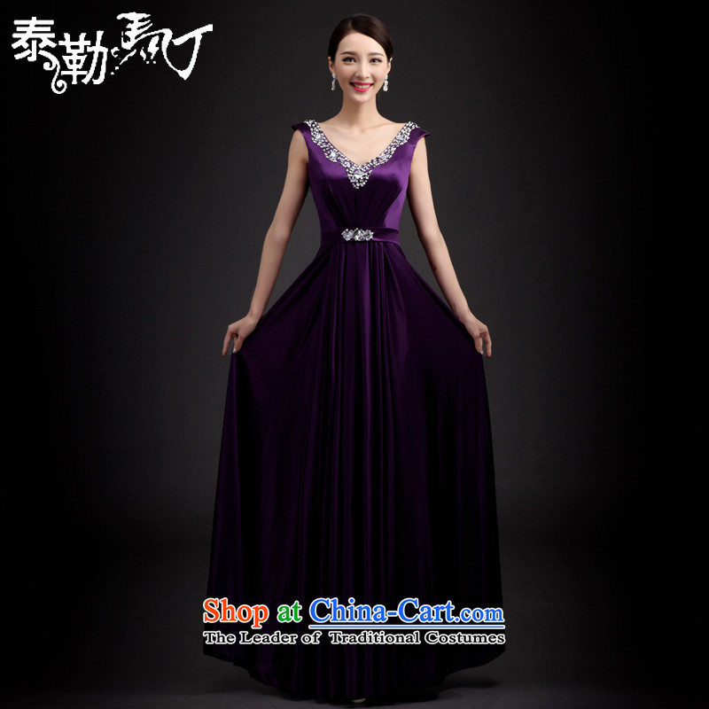 Taylor Martin 2015 Korean brides bows services Stylish spring and summer evening dress Sau San long skirt bridesmaid service banquet wedding dress purple聽XL