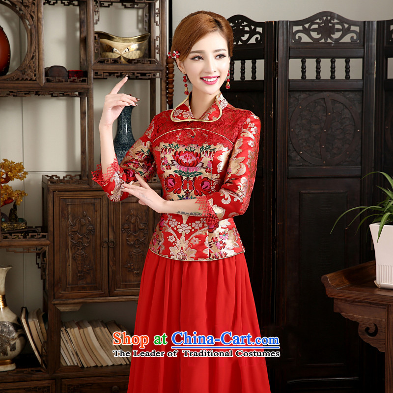 The first white into about 2015 new improvements qipao autumn and winter, Bridal Fashion long-sleeved red Chinese qipao bows service long cheongsam red S