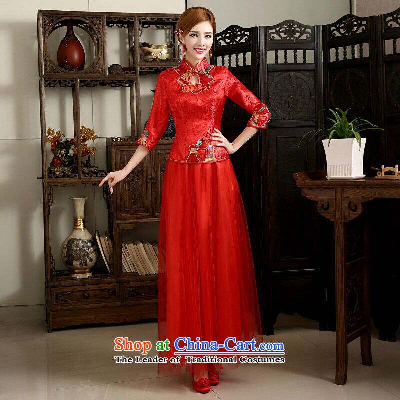 The first white into about Chinese style wedding dresses bride bows services marriage spring long new red women 2015 cheongsam dress Ronald L