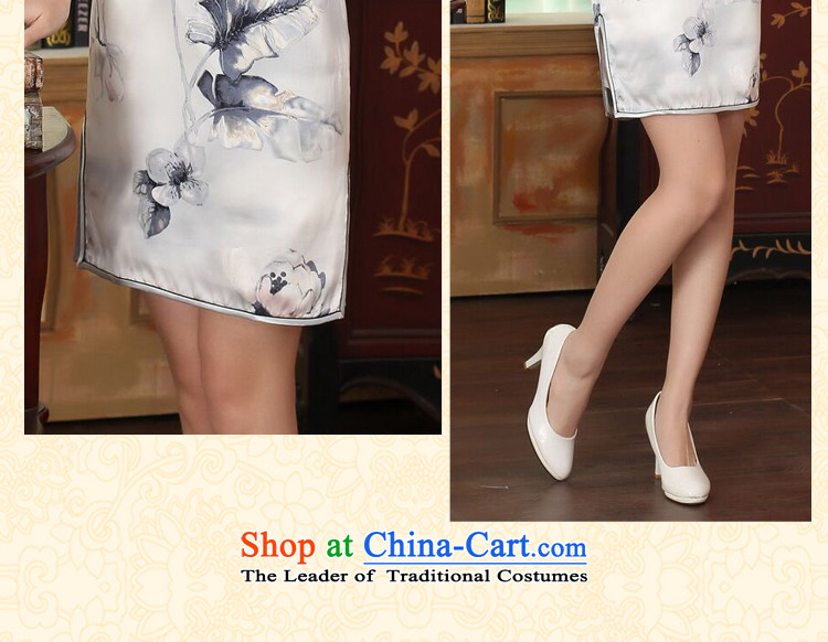 Figure for summer flowers female lilies Sau San heavyweight silk dresses retro improved herbs extract light short skirt color as shown qipao聽2XL Photo, prices, brand platters! The elections are supplied in the national character of distribution, so action, buy now enjoy more preferential! As soon as possible.